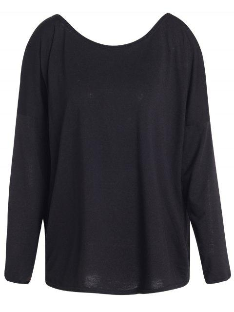 fashion Slash Neck Long Sleeve Loose Fit T-Shirt - BLACK M Mobile