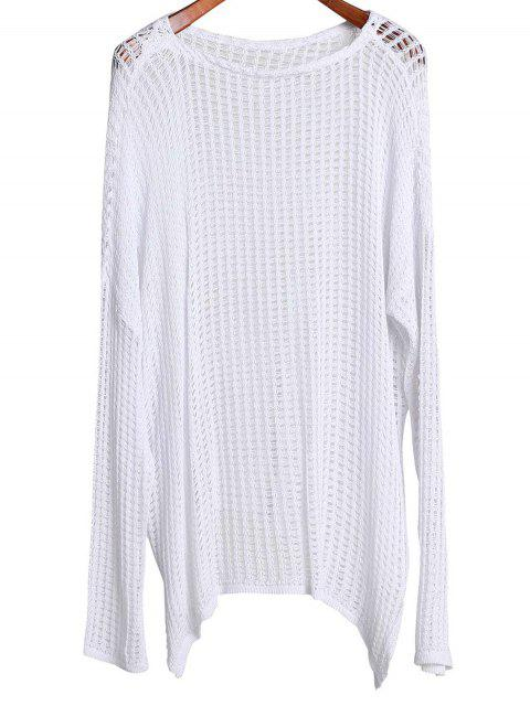 chic Long Sleeve Hollow Out Cover-Up - WHITE ONE SIZE(FIT SIZE XS TO M) Mobile
