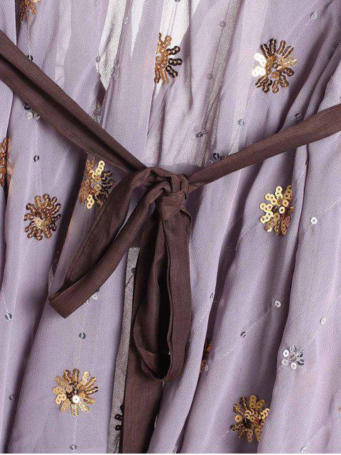 outfit Golden Silver Sequins Dress - PURPLE M Mobile