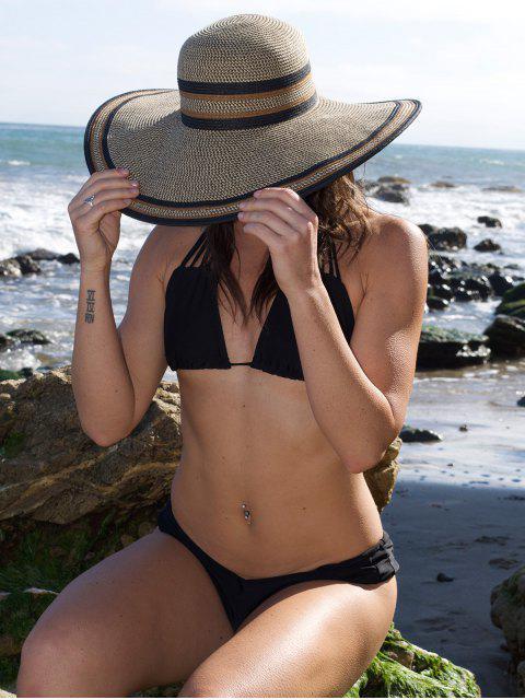 buy Strappy Solid Color Bikini Set - BLACK S Mobile