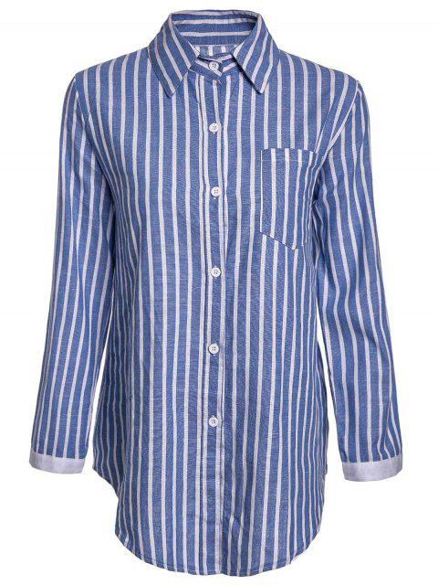 lady Striped Pocket Shirt - BLUE L Mobile