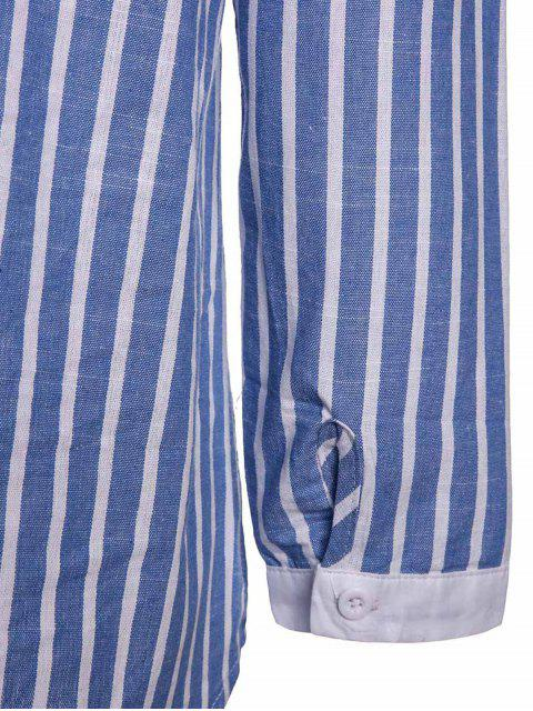 ladies Striped Pocket Shirt - BLUE M Mobile