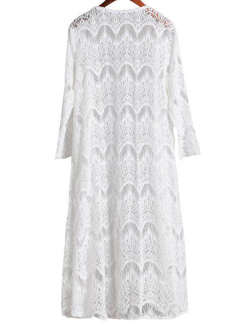 latest Mesh 3/4 Sleeve Long Cover Up - WHITE L Mobile