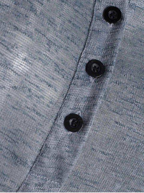 T-shirt à manches longues col en V avec des boutons - Gris XL Mobile