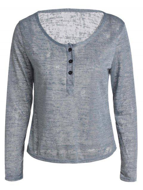 sale Button V Neck Long Sleeve T-Shirt - GRAY S Mobile