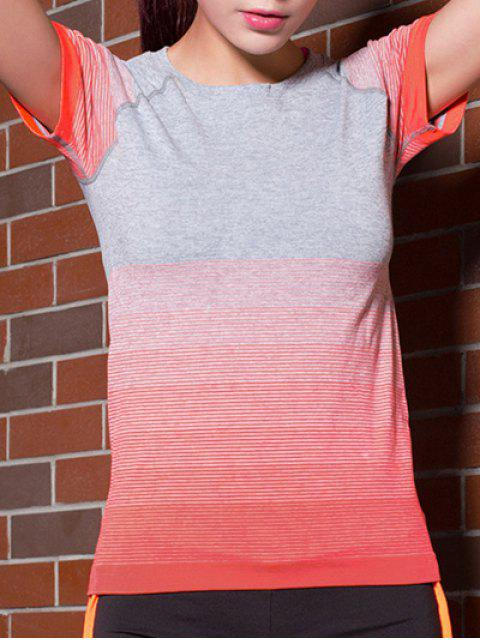 chic Gradient Color Stretchy T-Shirt -   Mobile