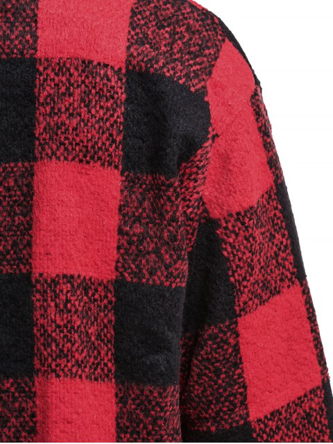 new One Button Plaid Big Pocket Wool Coat - RED WITH BLACK M Mobile