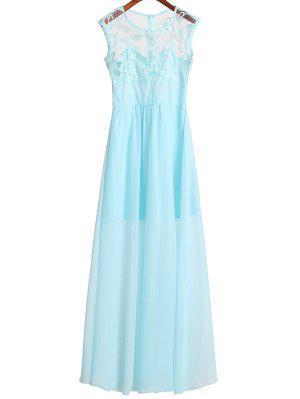 Vestido De Gasa Con Corpiño De Encaje - Azur S