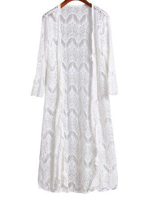 Mesh 3/4 Sleeve Long Cover Up - White Xl