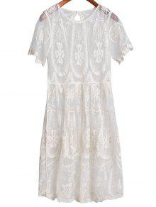 Sheer Lace Skirted Cover Up - White