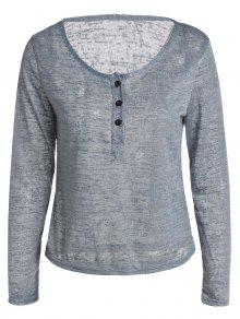 Button V Neck Long Sleeve T-Shirt - Gray S