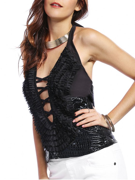 trendy Ruffles Plunging Neck Strappy Tank Top - BLACK S