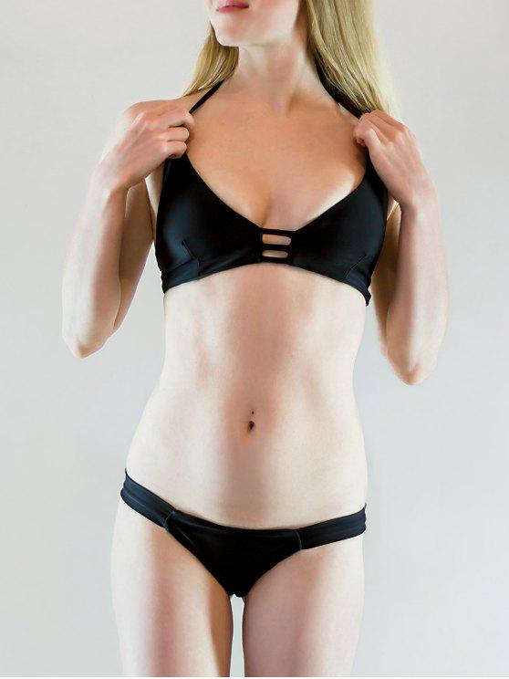 Traje de Bikini Monocromático con Cordón Combinado con Tirante Fino - Negro L
