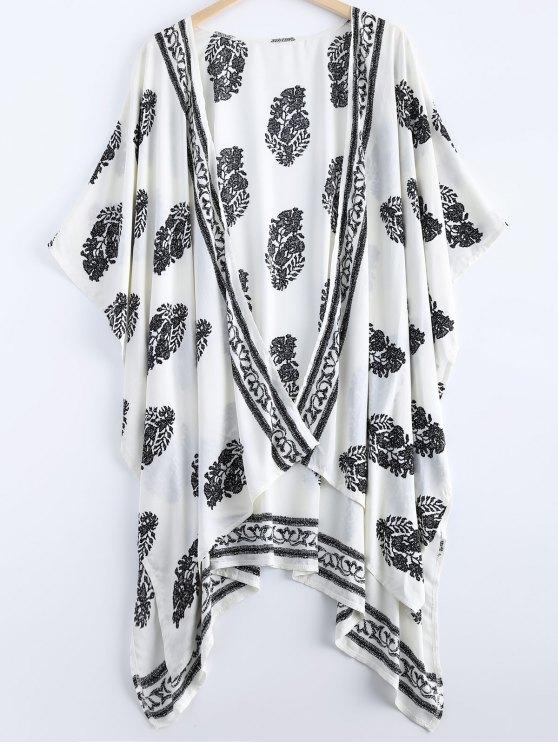 كيمونو كلاسيكي عالية انخفاض طباعة الأزهار - أبيض XL