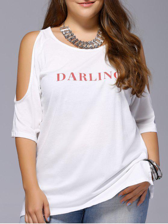 T-Shirt Femme Chic Plus Size Lettre d'épaule froide Imprimer l ' -