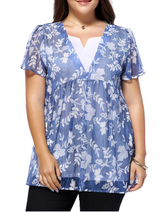 ladies Sweet Plus Size V Neck Tiny Flower Pattern Women's Blouse - BLUE L