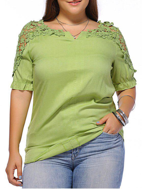 Doux plus Motif Taille de la fleur évider les femmes s 'Blouse - Vert 3XL