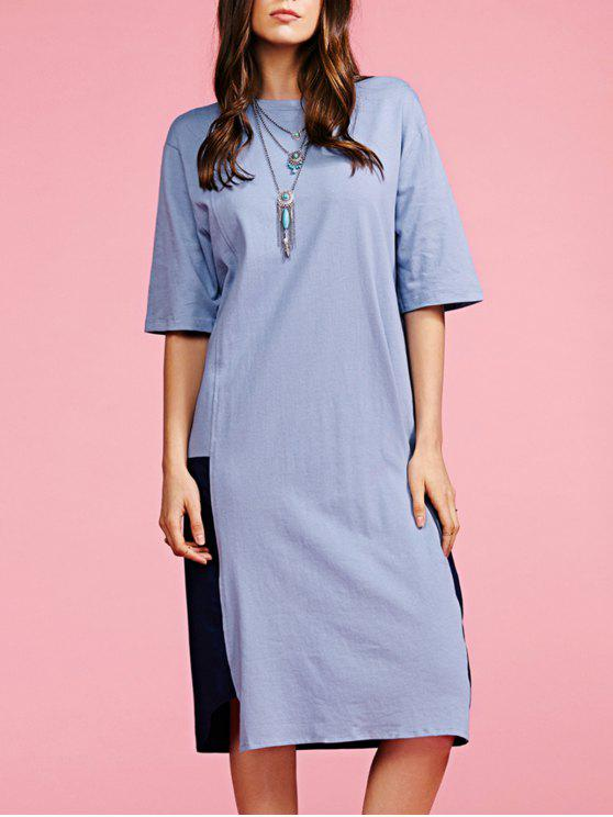 affordable Color Block Round Neck Loose Fitting Dress - GRAY ONE SIZE(FIT SIZE XS TO M)