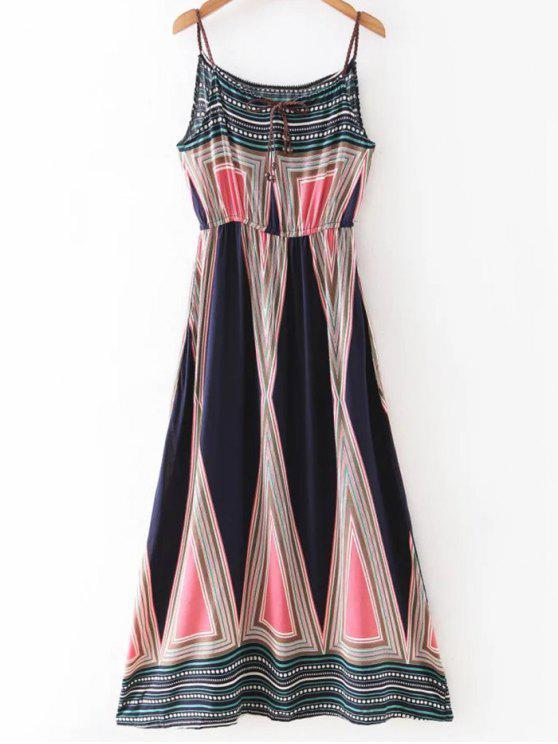 Robe maxi à bretelles imprimée géométrique - Multicolore XL