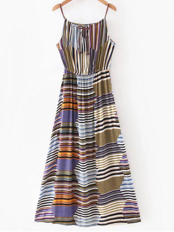 Multicolor Vestido largo de la raya - Colormix XL