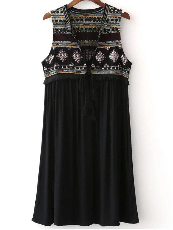 fancy Embroidered Long Waistcoat - BLACK M