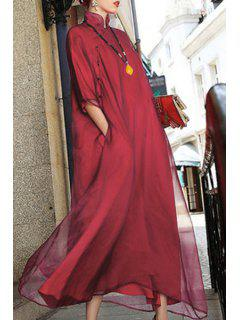 Tulle Maxi Cheongsam Dress - Red M