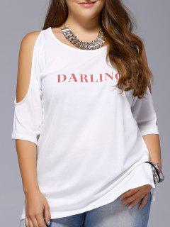 Plus Size Long Cold Shoulder Letter Print T-Shirt - White 2xl