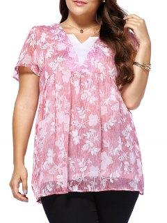 Sweet Plus Size V Neck Tiny Flower Pattern Women's Blouse - Pink L