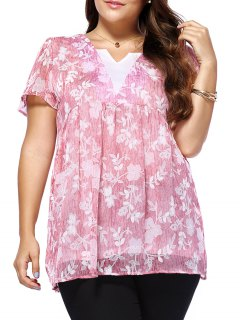 Sweet Plus Size V Neck Tiny Flower Pattern Women's Blouse - Pink Xl