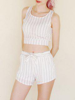 Évider Stripe Crop Top + Tie-Up Shorts - Blanc Xl