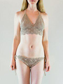 Hater Crochet Khaki Stylish Bikini Set - Khaki