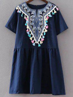 Retro Embroidery Round Neck Tassels Mini Dress - Purplish Blue