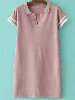 Striped Shirt Collar Short Sleeve Sweater Dress - Pink