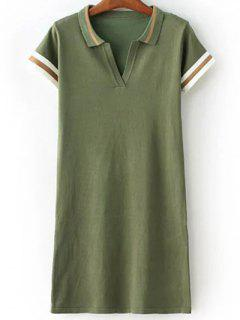 Striped Shirt Collar Short Sleeve Sweater Dress - Army Green