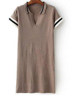 Striped Shirt Collar Short Sleeve Sweater Dress - Khaki