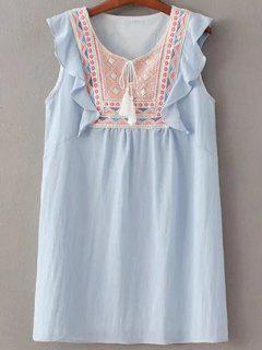Embroidery Sleeveless Flouncing Spliced Dress - Light Blue M