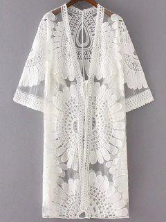 Sun Flower Embroidery 3/4 Sleeve Lace Cardigan - White