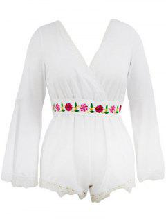 Floral Embroidered Plunging Neck Flare Sleeve Romper - White S