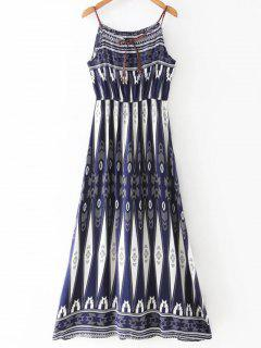 Geometric Print Strappy Dress - Blue And White S