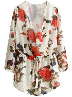 Floral Print Low Cut Playsuit - Beige S