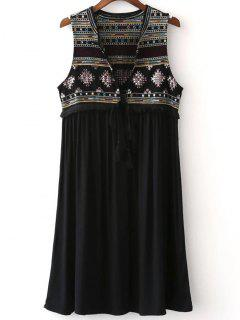 Embroidered Long Waistcoat - Black M