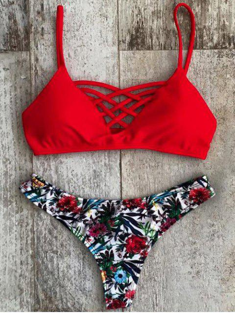 shops Printed Spaghetti Straps Lace Up Bikini Set - RED L Mobile