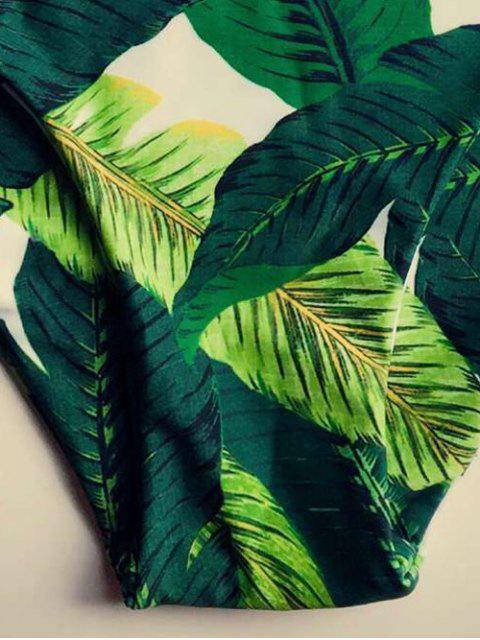 affordable Leaf Print Halter Women Bikini Set - GREEN M Mobile