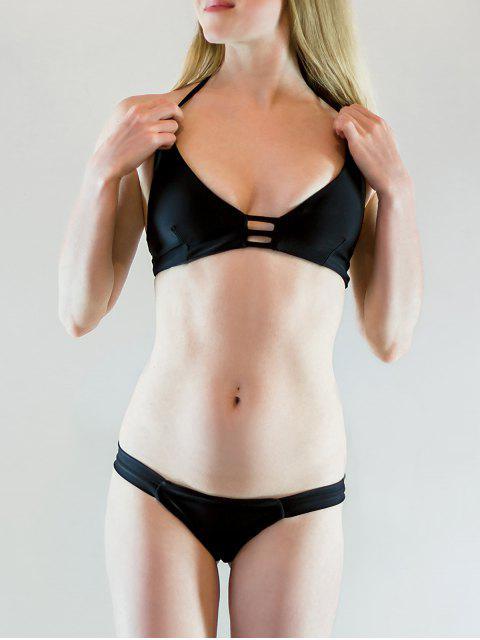 Einfarbig Spaghetti Strap Lace Up Bikini Set - Schwarz L Mobile