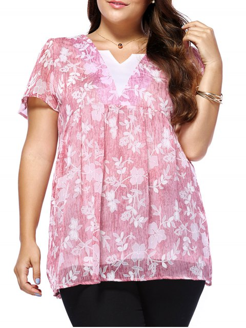 lady Sweet Plus Size V Neck Tiny Flower Pattern Women's Blouse - PINK L Mobile