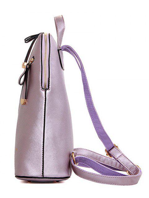 Solide Couleur Zipper Métal Satchel - Violet Clair  Mobile