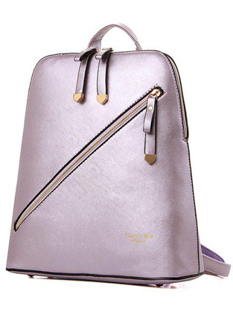online Solid Color Zipper Metal Satchel -   Mobile