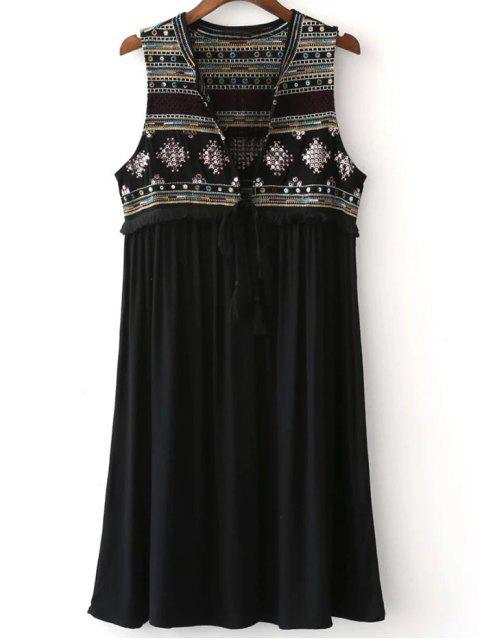 fancy Embroidered Long Waistcoat - BLACK M Mobile