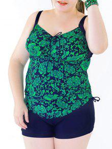 Elegante Plus Size Backless Floral Imprimir Tankini Set For Women - Verde Do Lago 2xl