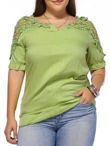 الحلو زائد حجم زهرة نمط الجوف خارج المرأة بلوزة - أخضر 3xl